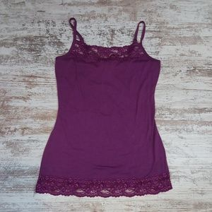 Maurices Purple Lacey Camisole Tank Top